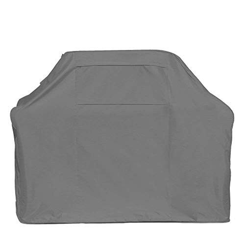 Oak Creek 64 Inch Gray BBQ Grill Cover Made of Heavy Duty Waterproof 600D Fabric Featuring Air Vents, Click Close Straps, and Elastic Cord That Fits Weber, Char Broil, Dynaglow -