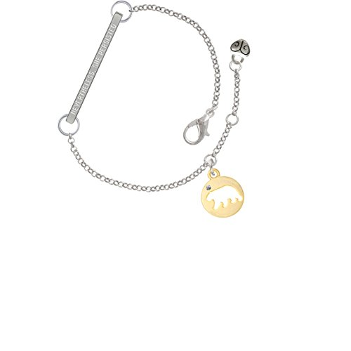 Gold Tone Bear Silhouette Nevertheless She Persisted Delicate Bar Bracelet