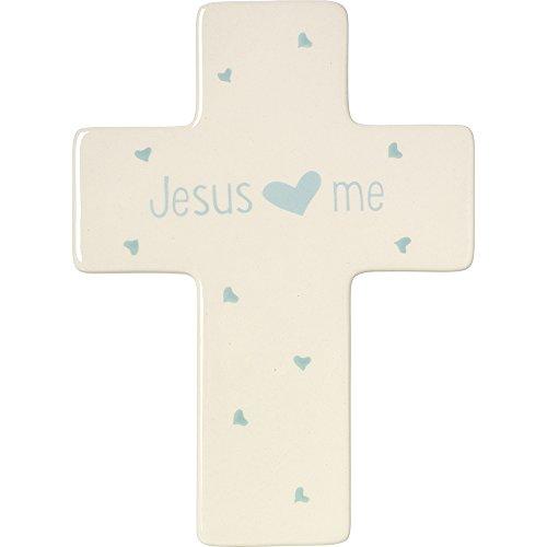 Jesus Ceramic (Precious Moments,  Jesus Loves Me, Ceramic Cross, Boy, 164465)