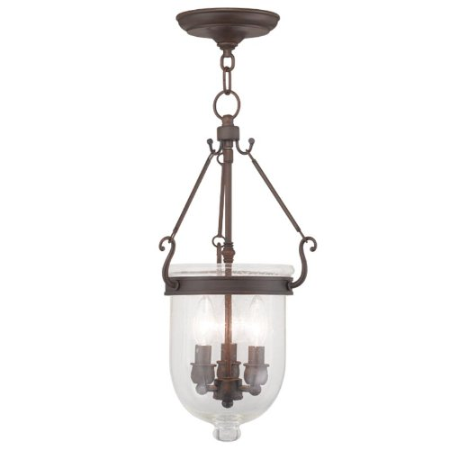Livex Lighting 5083-58 Jefferson 3-Light Hanging Lantern, Imperial Bronze