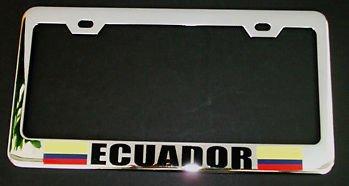 - Moon Ecuador Flag Heavy Duty Chrome License Plate Frame New Tag Holder Perfect for Men Women Car garadge Decor