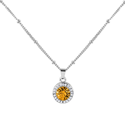 Lux Accessories Synthetic Topaz November Birthstone Pendant Disc Pave Charm Pendant Necklace Birthday Stone
