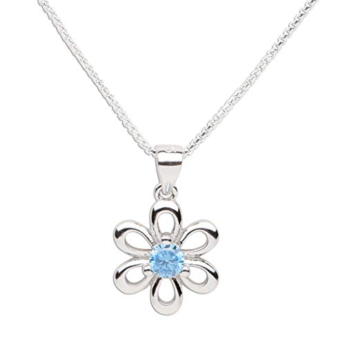 (Girls Sterling Silver Daisy Simulated March Birthstone Necklace for Children)