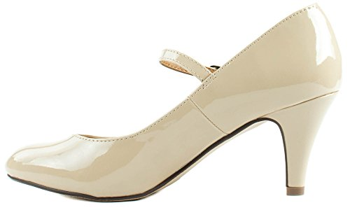 Cityclassified Shoes Womens Kaylee-h Décolleté Con Tacco Medio In Pelle Con Cinturino Con Fibbia Beige Pat