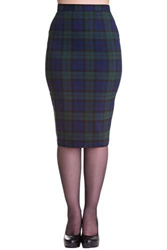 - Hell Bunny Jodie Tartan Pencil Wiggle Skirt (XS - US 4, Green & Blue)