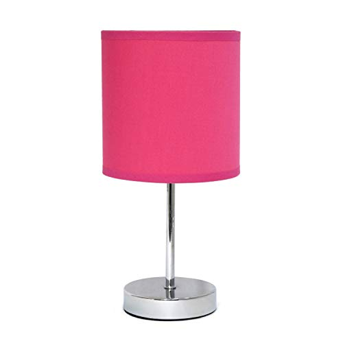 Simple Designs LT2007-HPK Chrome Mini Basic Fabric Shade Table Lamp, Hot Pink