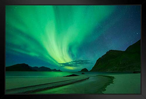 Northern Lights Aurora Borealis Haukland Beach Norway Star Night Photo Framed Poster 20x14 -