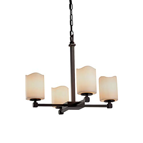 (Justice Design Group Lighting CNDL-8420-14-CREM-DBRZ-LED4-2800 Candle Aria - Tetra 4-Light Chandelier - Cylinder with Melted Rim Shade - Cream - LED Dark)