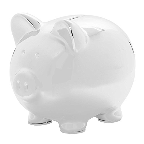 C.R. Gibson By Carter's Large Ceramic Piggy Bank for Kids - Silver (Large Pig Bank)