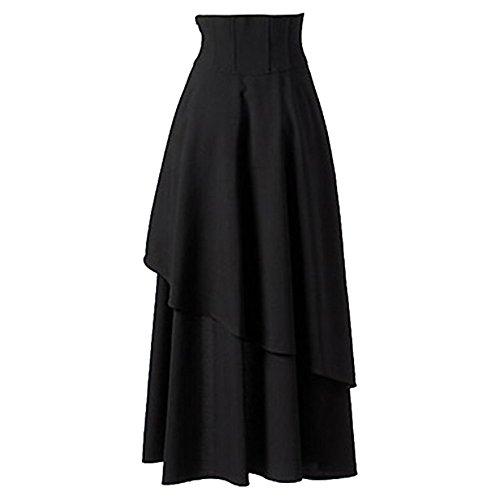Gothique Robe Robe Soire Sfit Robe Longue Femme Irrgulire Noir Bande Lolita de Jupe Cwtx6xfq