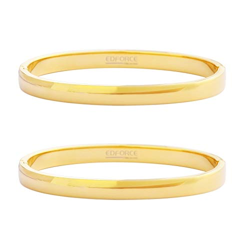 - Edforce Stainless Steel Set of 2 Women's Stackable Bangle Bracelet Hinged Oval-Shape Slip-On, (58mm x 49mm)