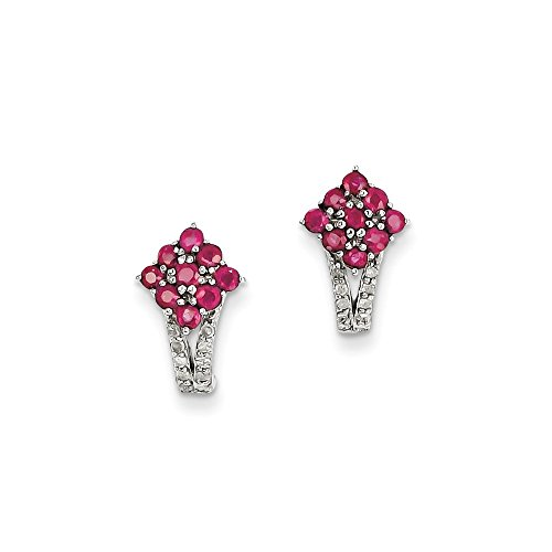 Sterling Silver Diamond & Glass Filled Ruby Square Post Earrings by CoutureJewelers