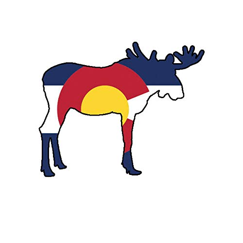Morgan Graphics Colorado Moose Shaped Flag Sticker Decal Vinyl CO elk Hiking Camping Vinyl Decal Sticker Car Waterproof Car Decal Bumper Sticker 5