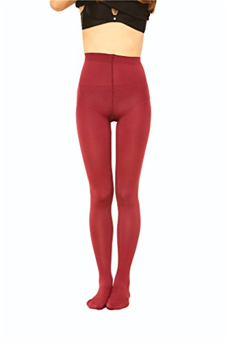 [2 Pairs Women 130D Microfiber Opaque Pantyhose TightsredS] (Bella Opaque Tights)