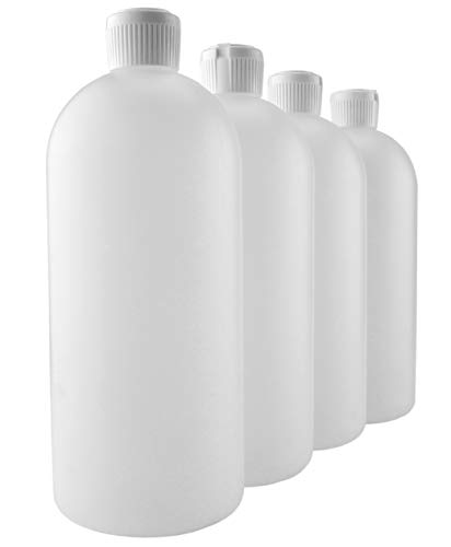 (32-Ounce Flip Top Plastic Squeeze Bottles (4-Pack); Spout Style Tops)