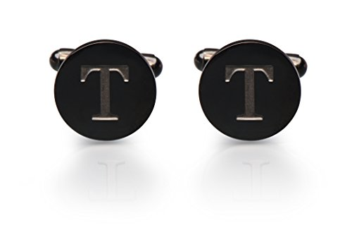 Men's Cobalt Black Engraved Initial Cufflinks with Gift Box– Premium Quality Personalized Alphabet Letter (T) (White Gold Designer Cufflinks)