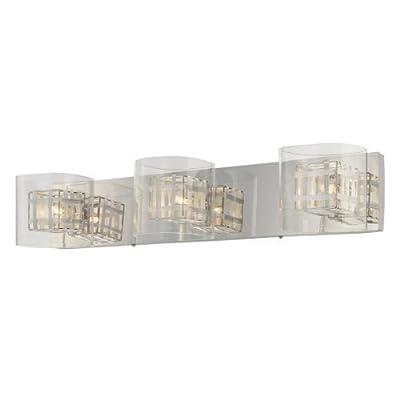 George Kovacs P5803-077, Jewel Box Glass Wall Vanity Lighting, 3 Light Halogen, Chrome
