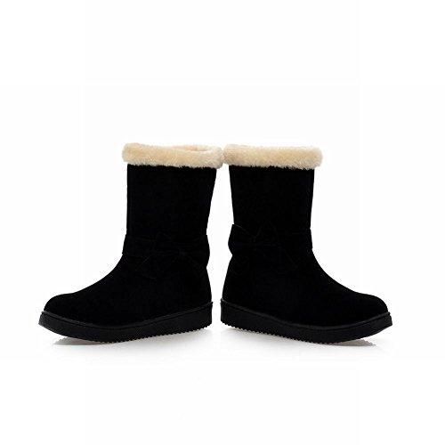 Show Shine Damesmode Strikken Platform Flats Laarzen Korte Laarzen Zwart