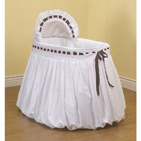 BabyDoll Pretty Ribbon Bassinet Liner/Skirt and Hood, Brown, 17''x31''