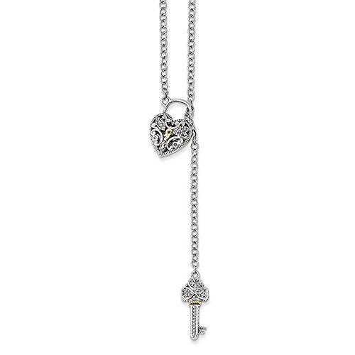 Sterling Silver and 14k Gold Diamond Heart Lock and Key Necklace 18in - Key Necklace Heart Diamond