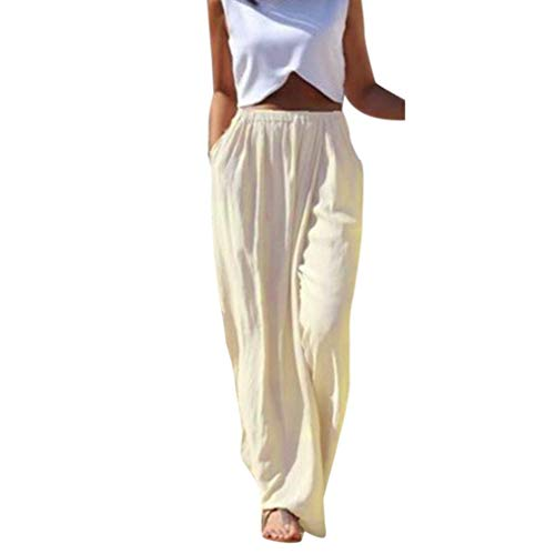 Realdo Women Solid Long Trousers, Ladies Casual High Waist Wide Leg Acrylic Pants(X-Large,Beige) ()