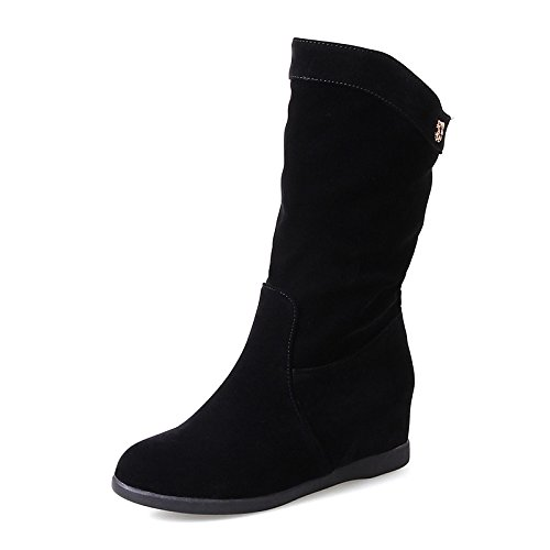 Women's ZHZNVX Round HSXZ Low Mid Fleece Ankle Boots Booties Boots Fall Black Calf Boots Boots for Draped Dress Side Winter Heel Toe Casual Fashion Shoes fw45qwPp