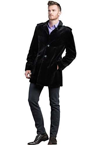 EM-EL Men's Black Sheared Mink Fur Jacket