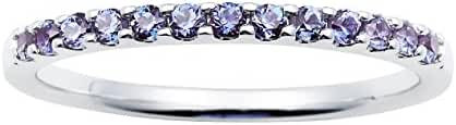 14K White Gold Created Alexandrite Birthstone Stackable Band Ring