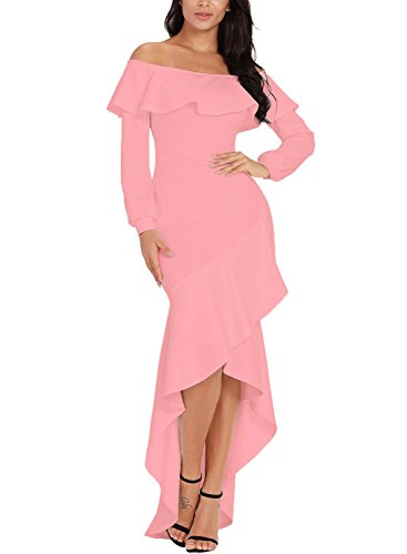 - Sidefeel Women Off The Shoulder Ruffle Long Sleeve Mermaid Formal Dress Small Pink