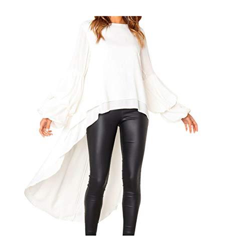 Koolee_Tops Women's Leopard Ruffles Shirt Dress High Low Asymmetrical Tunic Top Blouse (M, White)