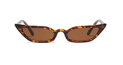 Super Skinny Narrow Geometric Small Sunglasses for Women Men Plastic Slim Frame (Slim Cateye 52mm Tortoise, 53) ()