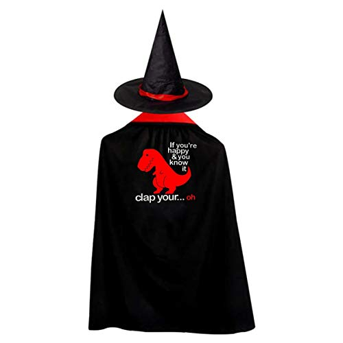 If You Are Happy You Know It Clap Your Oh Kids' Witch Cape With Hat Simple Vampire Cloak For Halloween Cosplay -