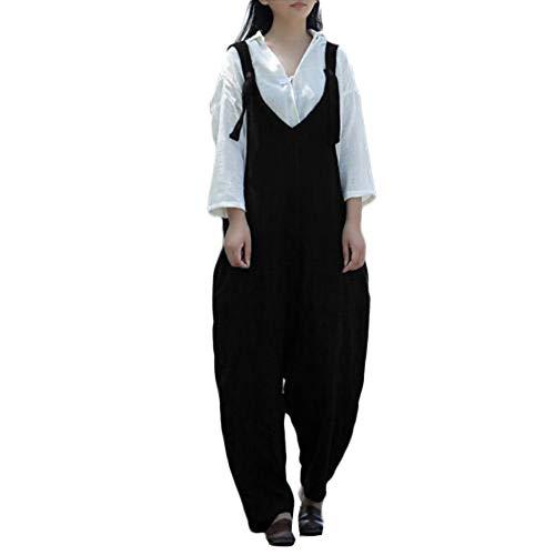 Baggy Pantalons Combinaisons Lin Poches Automne Et Ihaza Noir2 Coton Jambes Surdimensionnées Larges Femmes dWCrxBoe
