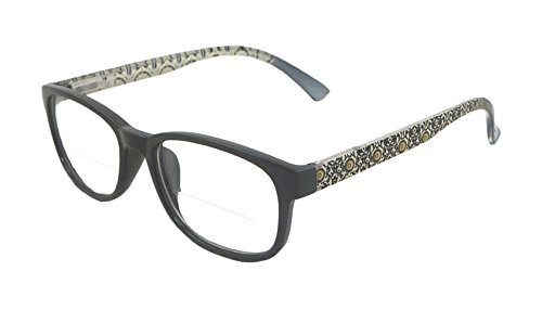 The Bifocal Reader DEMI Bifocal Reading Glasses (+2.50, - With Reading Clear Lens Top Glasses On