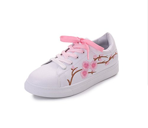 Women's White Skate shoes Embroidery Pink Peach Flowers Advantage Fashion Sneaker For Girls (White with Pink peach flower, Women US7= EU39)