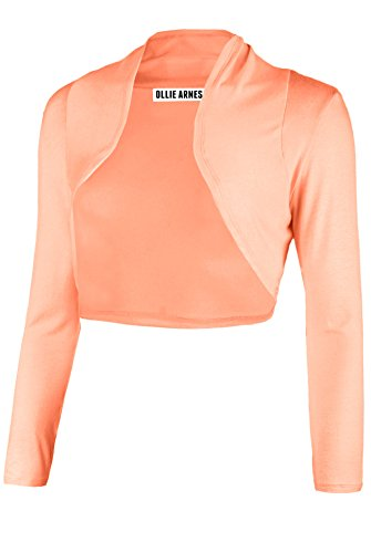 LAB301 Women's Women Short Sleeve Bolero Shrug Cardigan Junior Plus Made in USA 1S_Dusty_Coral (Wrap Sweater Jacket)