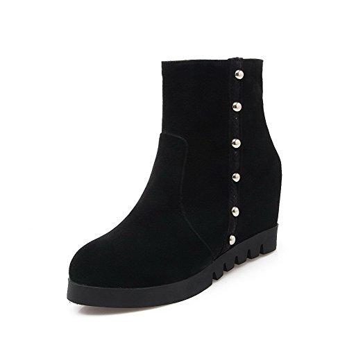 Allhqfashion Mujeres Low-top Zipper Dull Polaco High-heels Round Botas Con Punta Cerrada Negro