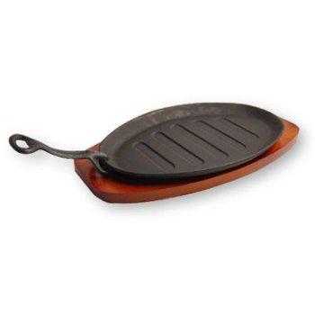 Sizzling Iron Steak Platter w/ Wooden Base