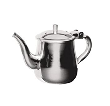 Stainless Steel Gooseneck Tea Pot w/ Vented Hinged Lid, 10 Fluid Ounces (1 - 2 Cups) by Pride Of India