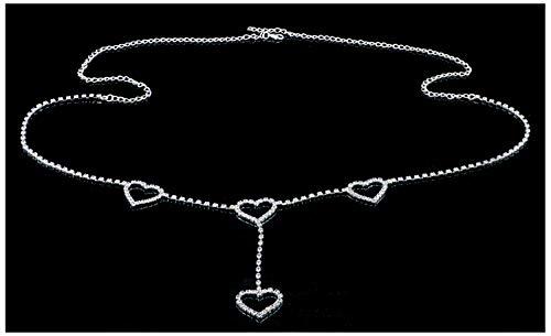 Bellady Sexy Rhinestone Body Chain Jewelry Waist Belly Chain for Dance, Heart