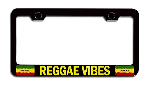 XYcustomBest Decorative License Plate Frame for Women, Matte Black Cover License Plate Frame Custom, Reggae Vibes Jamaican, 2 Holes with Screws Slim Stainless Steel Metal