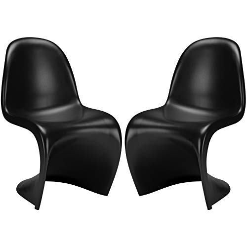 Poly and Bark S Chair in Black Set of 2