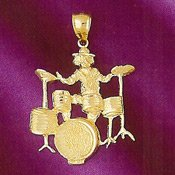 14K Gold Drumset Player Charm -
