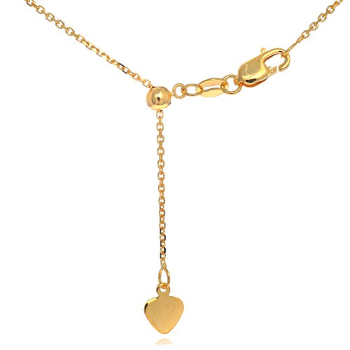 JewelStop 14k Solid Yellow Gold 0.9 mm Extendable & Adjustable Cable Chain, Lobster Claw - 22