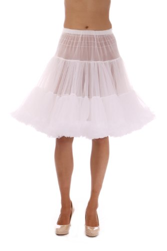 Malco Modes Luxury Vintage Knee-Length Crinoline Petticoat Skirt Pettiskirt, Adult Tutu for Rockabilly 50s Square Dance or Lolita Dress; Plus Size Petticoat Available White