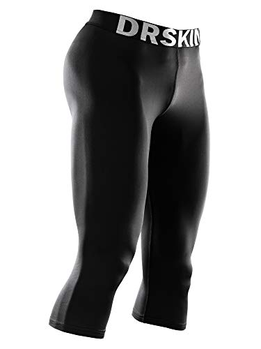 Layer Base Short - DRSKIN Men's 3/4 Compression Tight Pants Base Under Layer Running Shorts Warm Cool Dry 3Pack (Classic B801, L)