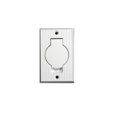 BIN Central Vacuum White Inlet Valve fits Vacuflo Central Vac - White Round Door (Round Door Valve Inlet)