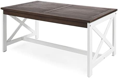 Christopher Knight Home Ivan Outdoor Acacia Wood Coffee Table with Base, White Base Dark Brown Top