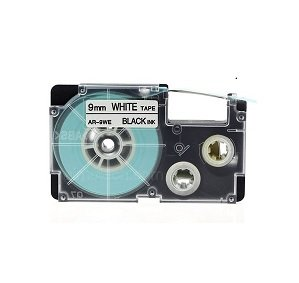 Prestige Cartridge Nastro per Etichette, Sostituisce XR-9WE/XR-9WE1, 9mm x 8m, 1 Pezzo, Nero su Bianco CA-R9WE