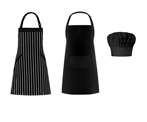 Morwealth Apron and Chef Hat Set, 2 Pack Adjustable Bib Cooking Aprons Water Drop Resistant with Elastic Baker Cooking Kitchen Chef Cap for Women Men Chef, Black (2 Pack Black -